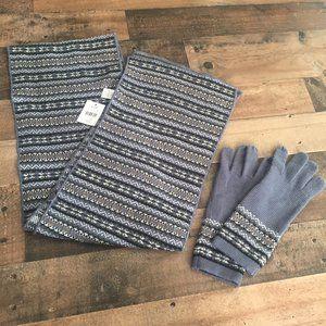 NEW J. Jill Fair Isle Scarf and Glove Set